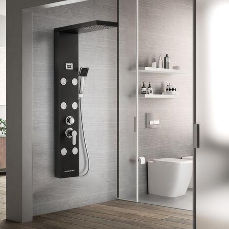 Auralum Colonne de douche hydromassante Panneau de douche 6 jets de massage 4 modes de douche Ensemble de Douche en Acier Inox avec écran Affichage LCD