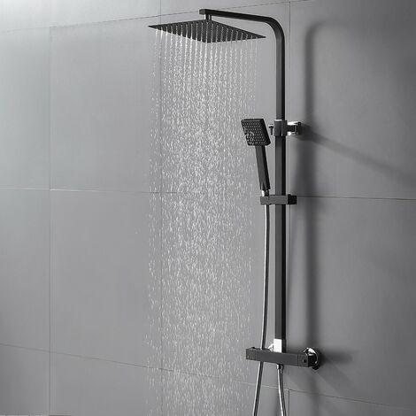 Samar Ensemble de douche thermostatique avec panneau de douche Noir