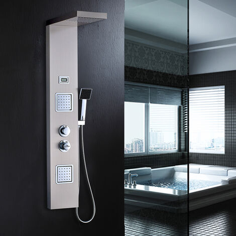 AuraLum Colonne de douche Thermostatique hydromassante Panneau de Douche en Acier Inox brossé avec 2 jets de massage Panneau écran Affichage LCD pour baignoire