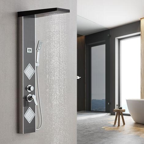 Auralum Colonne Panneau de Douche Hydromassante en Acier Inox 304 Noir Panneau de Douche Multifoctionnel avec Affichage LCD Température de l'Eau pour Salle de Bain