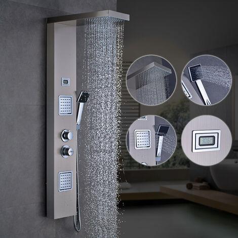 """main image of """"Auralum - Columna de Hidromasaje Termostático Ducha Moderna 3 Función Acero Inoxidable con Pantalla LCD para Baño"""""""