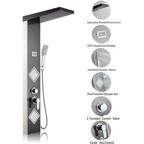 Auralum - Columna de Hidromasaje Termostático Ducha Negra Moderna 3 Función Acero Inoxidable con Pantalla LCD para Baño con 2 Mangeras