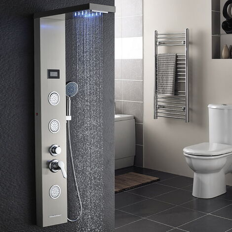 AuraLum Columna hidromasaje para ducha con LED Alcachofas + LCD Pantalla de temperatura + 5 salida de agua,color plateado