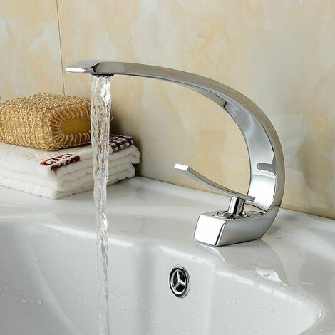 Auralum Design Robinet de Lavabo Cascade Mitigeur en Laiton Chromé pour Salle de Bain