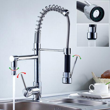 Auralum Design Wasserhahn Küche mit brause ausziehbar | Küchenarmatur 360°Schwenkbereich | Chrom