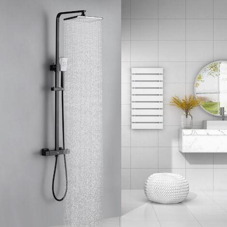 Auralum Duscharmatur Duschsystem mit Thermostat Schwarz Duschset Regendusche Duschsäule