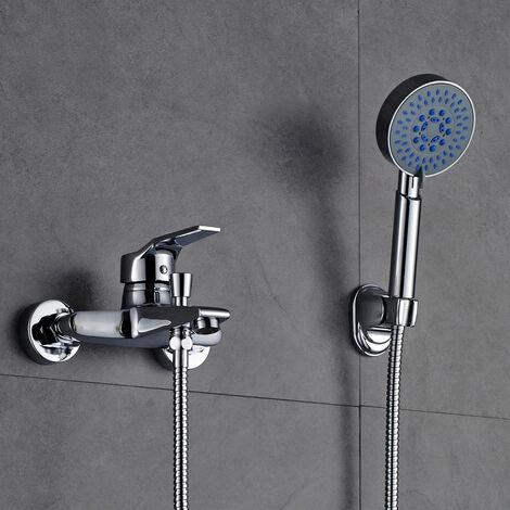 AuraLum Duscharmatur Messing Bad Wannenarmatur Badarmatur mit Handbrause und Wasserhahn Wasserfall