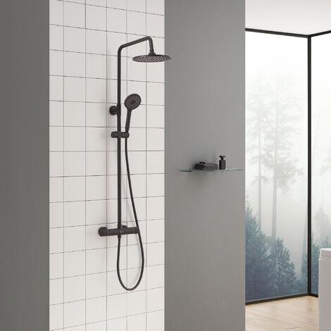 Auralum Duscharmaturen Set Duschsystem Thermostat Regendusche Duschset mit Brausethermostat- mit Regenbrause, Handbrause und Brausearm, Befestigungspunkt ca. 55 cm höhenverstellbar