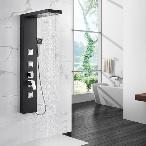 Auralum Duschpaneel-System Duschpaneel Schwarzes Duschpaneel Duschsäule Hydromassagesäule 304 Edelstahl-Regeneffekt für Badezimmer