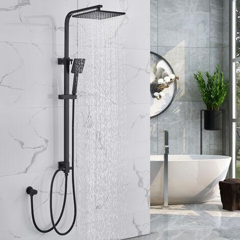 Auralum Duschset Duschsystem ohne Armatur, Regendusche Duschsäule mit verstellbar Duschstange, Schwarz
