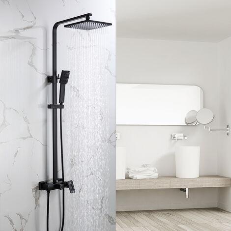 Auralum Duschset Duschsystem Schwarz Luxus Leichter Moderner Griffschalter Duschrohr Duschsäule Mit Handbrause Höhenverstellbar 900-1300 mm