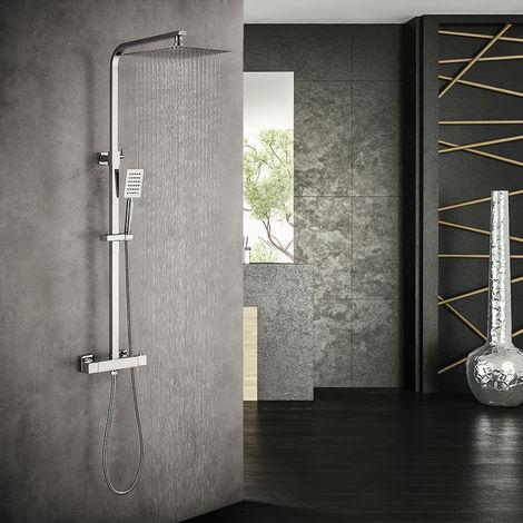 Auralum Duschset Regendusche Duschsystem mit Thermostat Regenduschset Duschsäule Duschgarnitur Set, Chrom