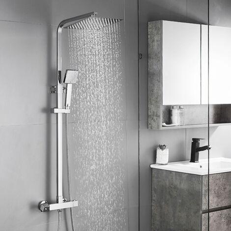 Auralum Duschsystem mit Thermostat Duscharmatur Regendusche Duschset Duschsäule für Badezimmer