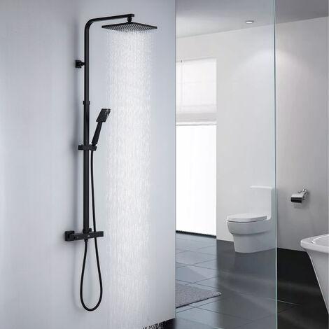 Auralum Duschsystem mit Thermostat Duscharmatur Regenduschset Verstellbar Duschsäule für Badezimmer