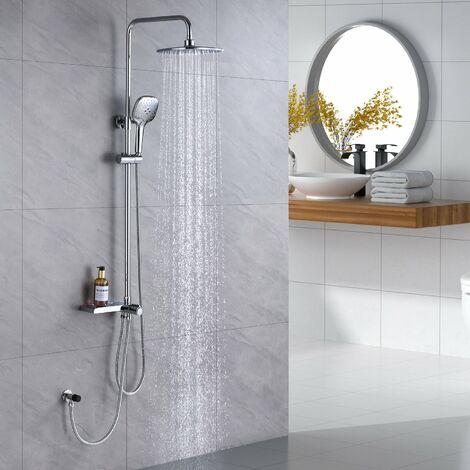 Auralum Duschsystem ohne Wasserhahn Duschsäule mit Regalduschset 3 Funktion Handbrause 9,45 Zoll Duschkopf für Badezimmer