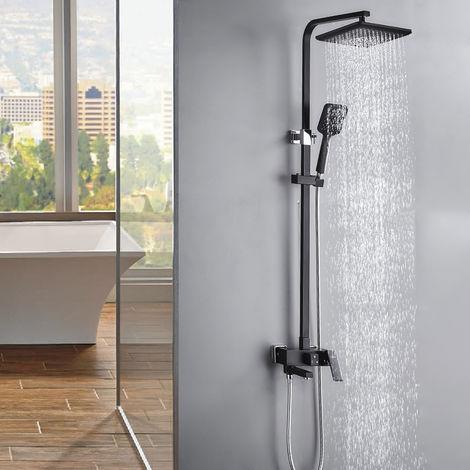 Auralum Duschsystem Regendusche Duschset mit 3 Funktion, Duscharmatur Regenduscheset inkl. Handbrause, Kopfbrause, Dusche Armatur