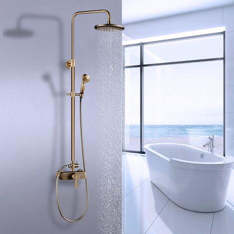 Auralum Duschsystem Vintage Duschset Regendusche Duschsäule mit höhenverstellbar Duschstange Regenduschset,Gold