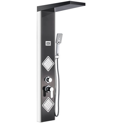 Auralum Edelstahl Duschpaneel Duschset mit Top Spray Handbrause Rückseitedusche, Duschsystem mit LED Temperaturanzeige, TemperaturDusche fürs Badenzimmer, Klassisch Schwarz