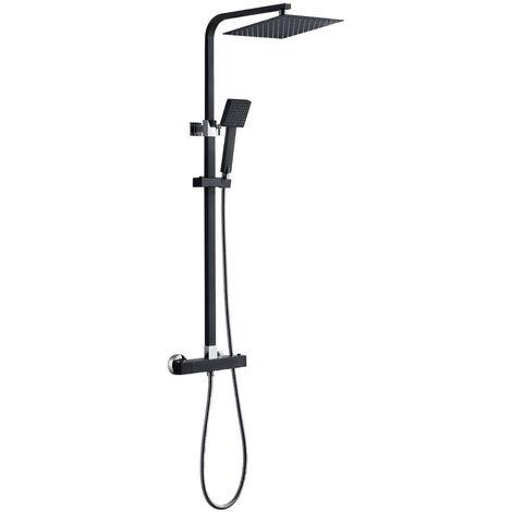 Auralum Edelstahl Duschsystem mit Thermostat Duschset Duscharmaturen Regendusche Set, Schwarz