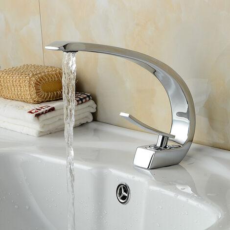 Auralum Einhebelmischer Design Waschtischarmatur Wasserhahn Chrom Bad Armatur Mischbatterie Waschbeckenarmatur für Badezimmer Waschbecken