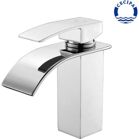 Auralum Einhebelmischer Wasserhahnn Bad für Waschbecken Wasserfall Wasserhahn Küche und Bad cromo-plateada Messing