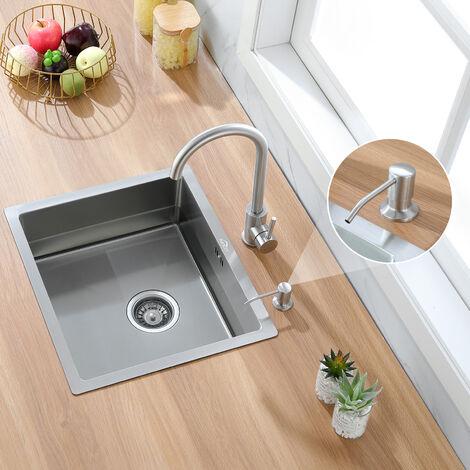 Auralum Einzelbecken Einbauspüle Edelstahlspüle Küchenspüle Spülbecken,50 x 43 cm Küche Waschbecken