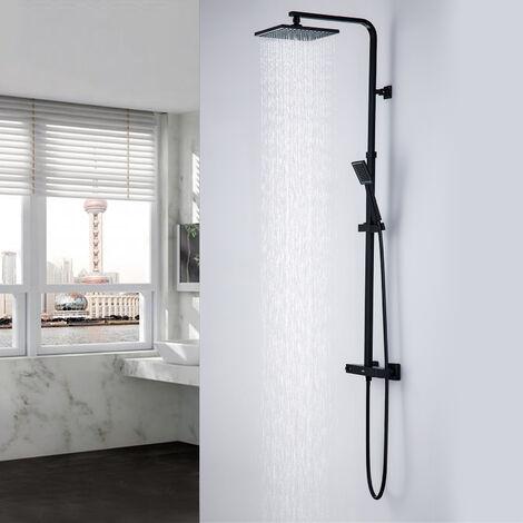 Auralum Ensemble de douche avec Mitigeur Thermostatique Salle de bain WC Colonne de Douche Système de Douche 38 ? température constante Effet Pluie