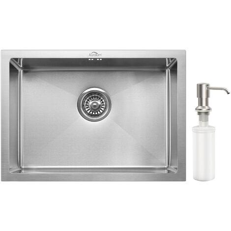 AuraLum Évier de Cuisine 1 Bac 50*43CM Évier Inox avec Siphon et Trop Plein Sous-Plan et à encastrer 2 style installation Évier 1 Bac - Inox