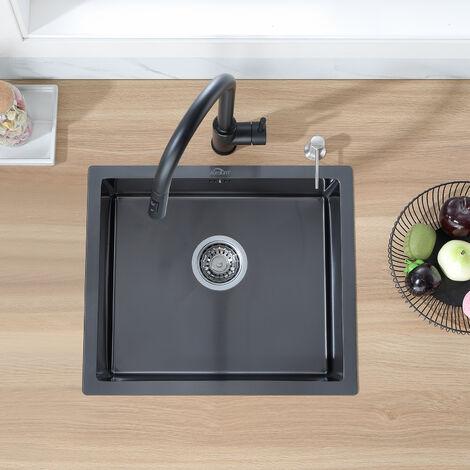 Auralum Évier de Cuisine 1 Bac 50x43CM Évier Noir en Acier Inoxydable 201 pour Cuisine Évier sous plan avec Système de Drainage
