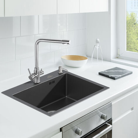 AuraLum Évier de Cuisine 1 Bac 55*45CM Nano noir /Gris foncé Acier inoxydable Évier avec distributeur de savon Sous-Plan et à encastrer 2 style installation Évier