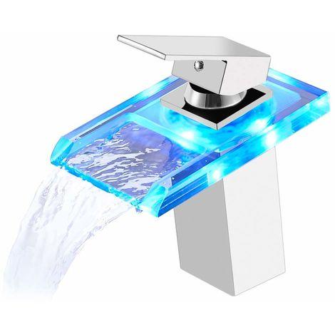 Auralum Glas LED Wasserhahn Wasserfall Waschtischarmatur Chrom Bad Armatur Einhebelmischer für Badenzimmer Waschbecken