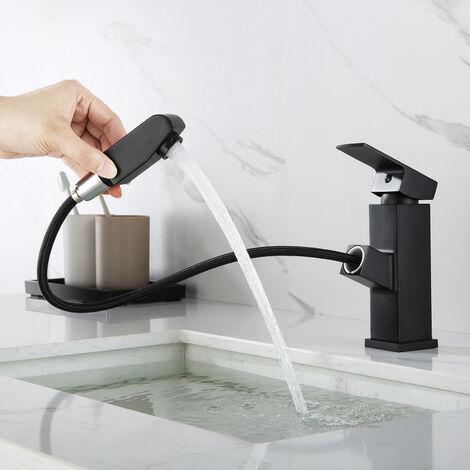 Auralum Grifo Lavabo Cascada con Cartucho SEDAL H18/H28CM para Baño Mezclador Cuadrado Moderno de Laton Cromado