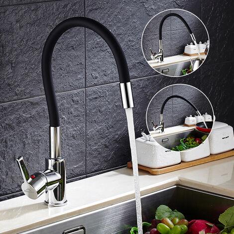 Auralum J-Form Wasserhahn Küche | Küchenarmatur flexibel 360°Drehbar Einhandmischer | Mischbatterie für Spüle Küche