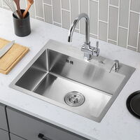 AuraLum Kitchen Sink 55*45*22 cm,in acciaio inossidabile spazzolato,1 lavello incorporato con troppopieno