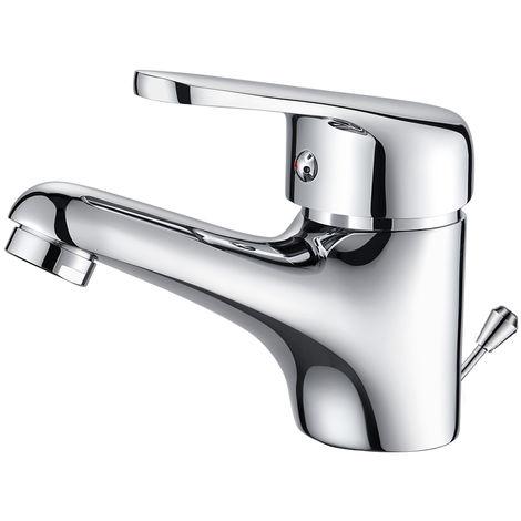 Auralum Kleine Waschbeckenarmatur fürs Bad inklusive Ablaufgarnitur Badezimmer Wasserhahn fürs Waschbecken mit Excenter-Ablaufgarnitur aus Chrom, Optimal für kleine Gäste-WCs