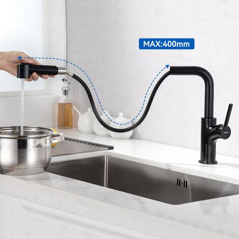 Auralum Küche Wasserhahn 3 Wege Küchenarmatur Trinkwasserhahn Mischbatterie, 360 °Drehbar Spültischarmatur Einhebelmischer Spülbeckenarmatur mit 2 Hebel für Küchenspüle, Spülbecken, Spültisch, Chrom