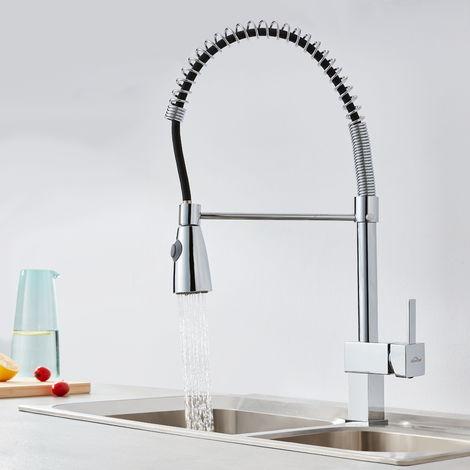 Auralum Küchenarmatur 360°Schwenkbar Wasserhahn Spiralfederarmatur für Spüle Geschirrbrause Spültischarmatur