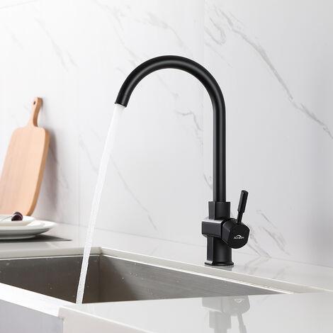 Auralum Küchenarmatur Küche Wasserhahn Spültischarmatur, Schwarz Spülenarmatur Einhebelmischer Mischbatterie