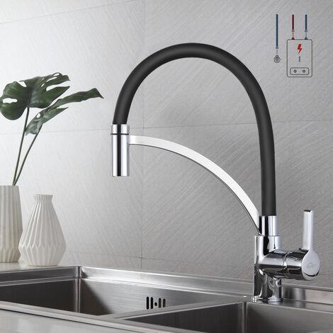Auralum Küchenmischbatterien Niederdruckhahn Schwarz Spiralfederarmatur 360 ° schwenkbar Wasserhahn Küche Spültischarmatur