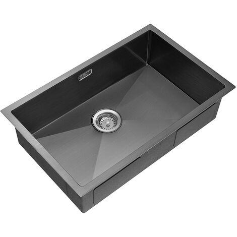 Auralum Lavello Da Cucina 62*45*22 cm in Acciaio Inox Spazzolato,con 2 Fori di Montaggio,1 Vasca da Incasso con Troppopieno,Senza Piombo,Protezione Ambientale