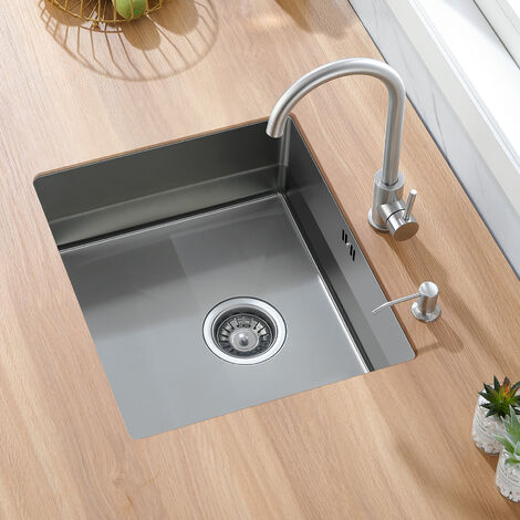 Auralum Lavello da Cucina in Acciaio Inox Spazzolato, 50 x 43 x 18.5 cm 1 vasca da Incasso con Troppopieno,Senza Piombo,Protezione Ambientale (spessore piastra: 3 mm)