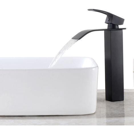 Auralum Messing Waschtischarmatur Schwarz Hoch Wasserfall Wasserhahn Bad Waschbecken Armatur Einhebelmischer Badarmatur Mischbatterie für Badezimmer Aufsatzwaschbecken