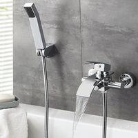 Auralum Mitigeur Bain Robinet de Baignoire Cascade avec Pommeau de douche Economie d'eau Laiton Chrome pour Salle de bain