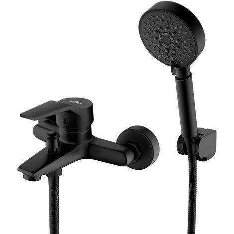 Auralum Mitigeur de baignoire Noir 5 en 1 Set de Robinet Baignoire Mélangeur Cascade avec douchette Mitigeur bain douche Salle de bain