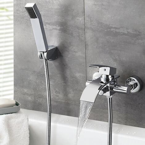 Auralum Mitigeur de baignoire Set Mitigeur Bain Robinet de Baignoire Cascade Robinetterie mural avec douchette Mitigeur bain douche pour Salle de bain