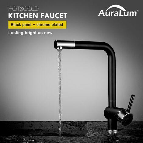 AuraLum Mitigeur de cuisine Noir Robinet Haut Bec Pivotant à 360°avec Mousseur Démontable pour Évier Cuisine