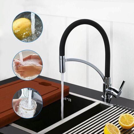 Auralum Mitigeur de cuisine pivotant à 360° avec douchette extractible Noir