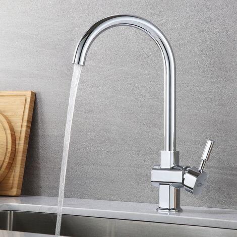 Auralum Mitigeur de Cusine Robinet de cuisine Salle de bain Bec Rotatif 360°Chromé Robinetterie Évier Eau chaude et froide