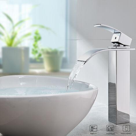 Auralum mitigeur lavabo robinet cascade avec bec haut pour vasque de salle de bain en laiton - Mitigeur lavabo salle de bain ...