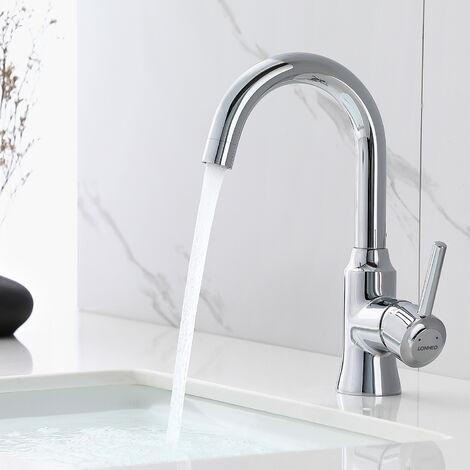 AuraLum Mitigeur Lavabo Robinet Cascade pour Vasque à poser Robinet pour Lavabo et Vasque Salle de Bain WC Robinetterie